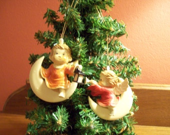 """Vintage Hard Plastic Christmas Ornaments """"Angels Sitting on Moon"""" - Set of 2 - Made in Hong Kong"""