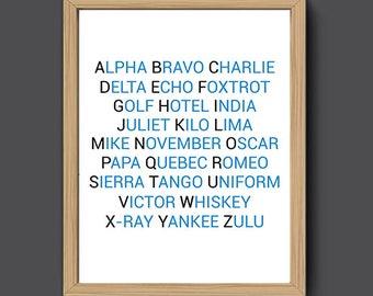 NATO Phonetic Alphabet Print | Aviation Art, Aviation Decor, Pilot Gift, Airplane Wall Art, Airplane Decor, Phonetic Alphabet Poster
