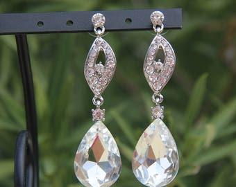 large crystal clear rhinestone earrings, rhinestone prom earrings, rhinestone pageant earrings, rhinestone bridal earrings