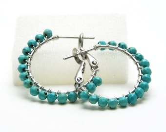 """Turquoise Hoop Earrings - Sterling Silver Wire Wrapped, Blue Green Gemstone, Silver Plated Leverback Hoops (20mm, Beaded 1"""")"""