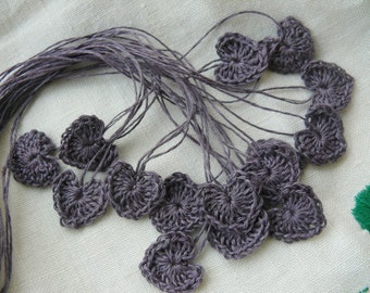 Crochet heart applique, mini hearts, embellishments,applique, 15 tiny hearts, small wedding favor, scrapbooking,wedding decorations,cards