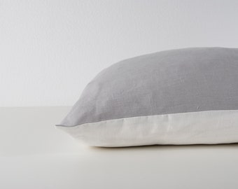Linen light gray contrast pillowcase, 100% stonewashed linen pillow cover, color block pillow sham