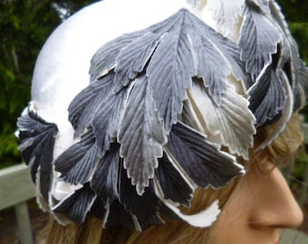 50s Leaf Hat, Gray Leaves with Winter White Velvety Body, Bridal, Event, OH SO LOVELY