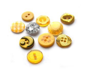 50 Assorted Yellow Buttons 12-15mm