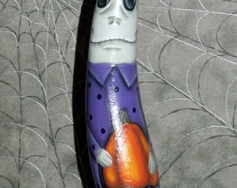 Hand Painted Halloween Ghoul/Ghost Gourd Ornament - Original Design -Home Decor - Halloween Decor - Tole Painting - Decorative Painting