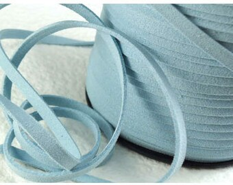 6yds Suede imitation Leather Micro Fiber Blue Jewelry Cord Light Blue Lace 5mm x 1.5mm