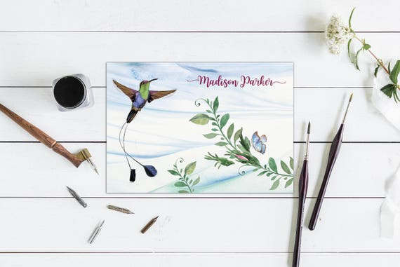 Hummingbird Folded Personalized Note Cards