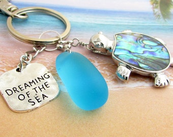 Sea Turtle Keychain, Sea Glass Keychain, Beach Glass Keychain, Beach Keychain, Car Accessories, Abalone Shell Turtle, KY24