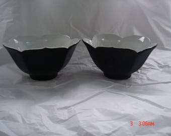 Vintage Black and White Porcelain Lotus Cups - Beautiful