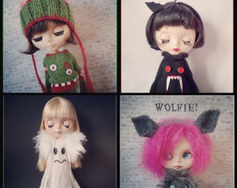 """All FOUR Spooky PDF knitting patterns for 12"""" Blythe"""