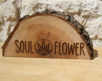 Business Sign, custom counter advertising, store front info, promotional materials, shop logo, nature inspired, natural wood, organic