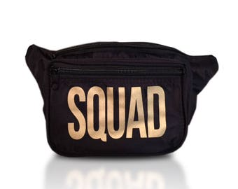 Squad Fanny Pack Black With 3 Pockets and Free Shipping