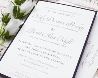 Simple Elegant Wedding Invitation Suite / Eggplant and Ivory / Mauve, Purple shades