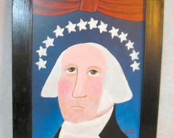 George, Primitive Original Painting & Frame