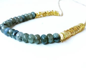Labradorite Rondelle Beads & Gold Ruffle Washers, 24K Gold Necklace