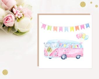 Wedding Card - Pastel Pink VW Camper Van Wedding Greeting Card - vw camper van - ideal for camper van lovers