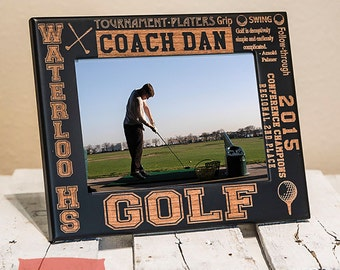 Personalized Golf Gifts - Golf Frame Engraved on Wood-Engrave your name/number-Golf Player gift-Golf Team