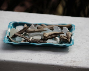Turquoise Mermaid Tray With Seaglass and Driftwood , Coastal Home Decor , Beach Inspired Room
