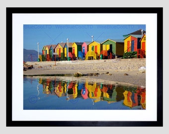 Photo Bright Beach Huts Seaside Art Print Poster Picture FEBMP134B
