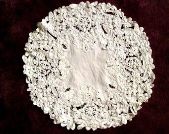 Battenburg Lace Small Round Tablecloth, Doily