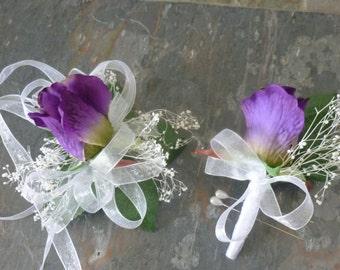 Purple rose wrist corsage and boutonniere set, artificial rose, baby's breath, prom,