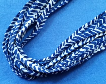 Blue and White Chevron Recycled T-shirt Fabric Necklace - upcycled tshirt necklace tarn tshirt yarn, chevron necklace