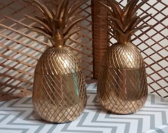 """Pair of brass pineapples candle holder and trinket box or bookend solid brass 6.75"""" pineapples"""