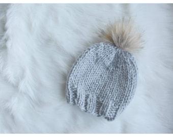 Baby Toque // Knit Toque // Pom Pom // Grey Toque // Baby Hat