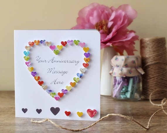Handmade d anniversary card personalised personalized with