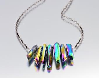 Rainbow Titanium Quartz Dagger Necklace