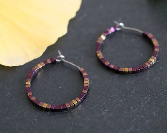 Spark - Pure titanium hoop earrings with purple and copper hematite beads -  hypoallergenic earrings for sensitive ears