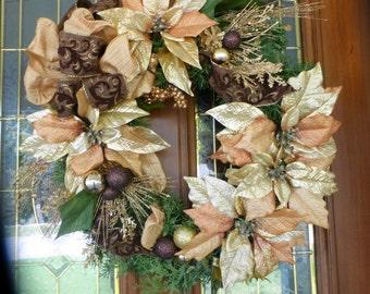 Elegant Christmas Wreaths - Christmas Decorations - Wreaths - Holiday Door Decor - Copper Poinsettias - Holiday wreaths - Poinsettia wreath