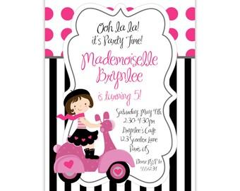 Paris Invitation - Hot Pink Dots, Black Stripe, Cute French Girl, Paris Parisian Personalized Birthday Party Invite - Digital Printable File