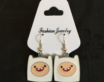 Silver Plated Adventure Time Finn Earrings