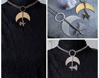Battle Axe - Choker - Axe - Necklace - Crescent - Moon - Silver - Bronze - Dark - Witchy - Goth - Gothic - Black Metal - Occult - Jewelry