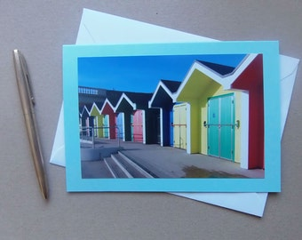 "Colourful Huts on Barry Island with Blue Sky Size 7"" x 5"" Blank"
