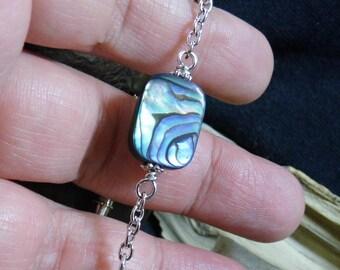 Abalone Shell Beaded Silver Bracelet 7 inch