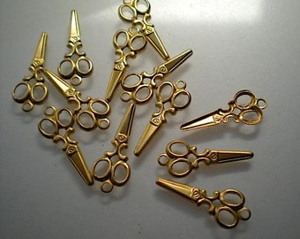 12 small brass scissors charms
