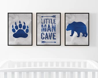 Baby, Boy,Nursery wall art,set of 3,Little Man Cave,digital print,Bear decor,Bear,paw,woodlands, Arrows,Navy,Gray,gift, nursery,boy,bedroom,