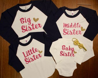Big Sister Shirt, Middle Sister Shirt, Baby Sister, Big Sister, Biggest Sister, Middle Sister,  Little Sister, New Baby, Pregnancy