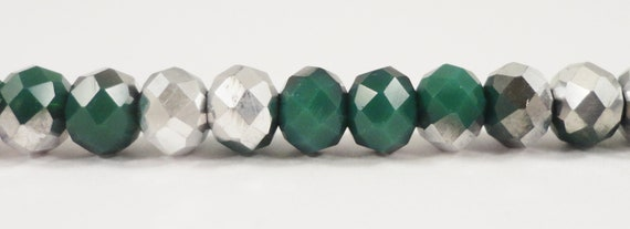 """Crystal Rondelle Beads 6x4mm Opaque Forest Green Half Metallic Silver Crystal Beads Chinese Crystal Glass Beads on a 9"""" Strand with 50 Beads"""