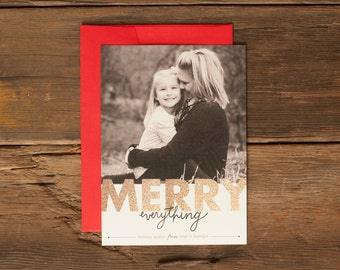 Custom Holiday Photo Cards - Personalized Christmas Card - Merry Everything