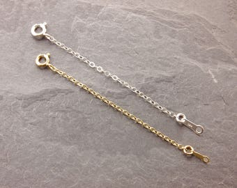 "Necklace Extender, 1"", 2"", 3"", 4"", 5"", chain extender, sterling silver, gold filled, silver necklace, gold necklace, chain adjuster"