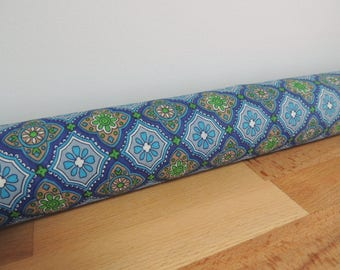 Morocan tile print draft Stopper. Light blocker. Window snake. Draught excluder. House and home accessory. window draft stopper