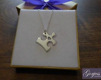 Silver Jigsaw Puzzle - Handmade Puzzle Piece Necklace - Autism Pendant