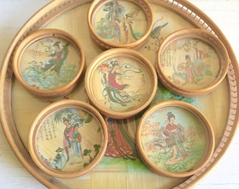 Vintage Round Natural Bamboo Tray and 6 Coasters - Asian theme Rattan Wicker