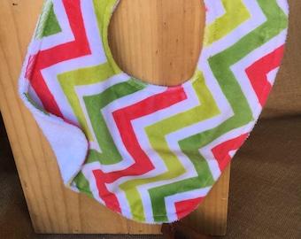 Chevron print, chevron, green, pink, white, terry cloth, snaps, minky