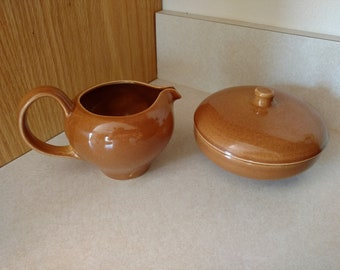 Vtg Iroquois Casual China by Russel Wright Apricot Redesigned Creamer and Covered Sugar Bowl Set
