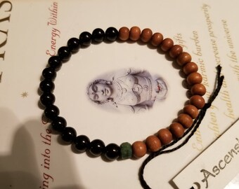 Men's Sandalwood Genuine ~ Fair Trade ~ Black Tourmaline - Raw Emerald ~ Therapeutic Quality Gemstone Energy Bracelet  For Healing 6mm