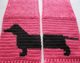 Pink Dachshund Scarf.  Bright pink knit scarf with crochet Dachshund dog. Weenie dog gift